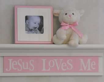 """Jesus Loves Me - Pastel Pink Sign on 24"""" White or (Off White) Shelf, Unique Christian Wall Art for Nursery"""
