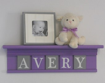"Purple Nursery Decoration Purple and Gray Wall Shelf Personalized for AVERY - 24"" Lilac Shelf - 5 Wooden Letters - Girl Nursery Art Decor"