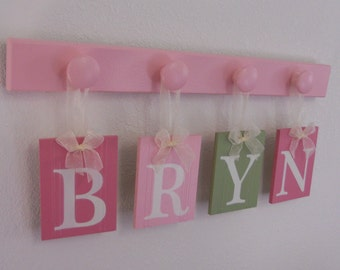 Baby Name Wall Hanging Sign 4 Wooden Hooks - Pinks and Green. Custom Baby Gift - BRYN