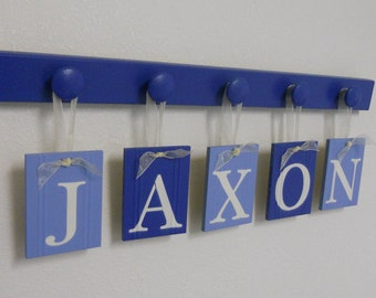 Alphabet Letters Boy Baby Name Sign Personalized for JAXON and 5 Wooden Knobs in Blue. Nursery Wall Art