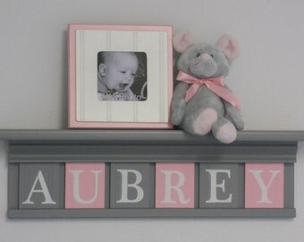 Gray and Pink - Pastel Light Pink Baby Girl Nursery Decor - Grey Shelf with  Wooden Letters