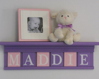 "Purple Pink Nursery Decor - Baby Girl Nursery Wall Art 24"" Shelf - 6 Wooden Block Letters Lilac Soft Pink for MADDIE"