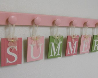 Pink and Green Baby Name Wall Hanging Letter Sign Set Includes Name SUMMER - 6 Wooden Pegs