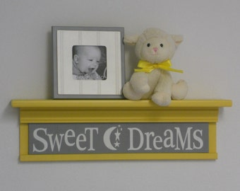 "Gray Yellow Nursery - Sweet Dreams on 24"" Shelf  - Wall Sign - Moon and Star Nursery Wall Art"
