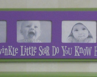 Purple Green Childrens Photo Sign Frame Baby Nursery 4x6 Picture Frame Twinkle Twinkle Little Star