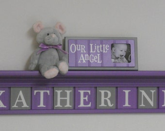 """Baby Nursery - Baby Wall Letters Shelf / Sign 11 letters - KATHERINE with Flowers - 42"""" Shelf Purple and Gray"""
