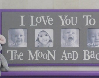 Gray Purple Baby Nursery Sign - I Love you to the Moon and Back - Lavender Grey Nursery Wall Art Baby Sign 4x4 Picture Frame