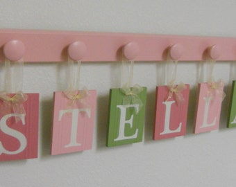Baby Name Wall Hanging Sign Set Includes Letters 6 Wooden Pegs Pinks, Light Green - STELLA