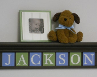 "Blue and Green Nursery Decor 30"" Shelf in Brown with 7 Wooden Letter Plaques - JACKSON"