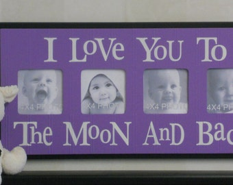 Purple Black Nursery - I Love you to the Moon and Back - Purple Nursery Wall Art Baby Sign 4x4 Picture Frame