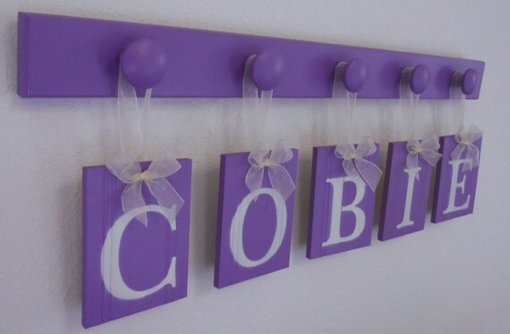 Purple White Nursery Decorations Kids Room Art Personalized Hanging Ribbon Letters for COBIE 5 Wooden Hooks Handpainted Lilac