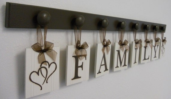 FAMILY with HEARTS Wall Art Sign - 8 Pegs and Wooden Letters Brown. Custom Housewarming Gift