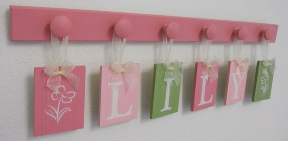 Baby Nursery Wall Art Name Sign Set Includes Babies Name Lily