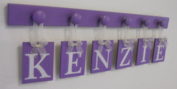 Wooden Letters For Girls Room Set Includes 6 Peg Hooks Name