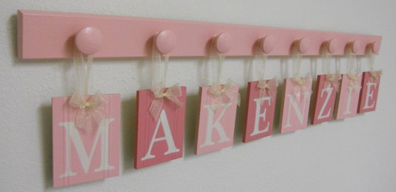 Baby Girl Nursery Art Wall Hanging Name Sign Set Includes 8 Wooden Hangers Painted Pinks for Princess MAKENZIE Birthday