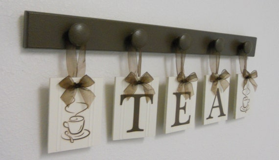 Tea cup wall art for kitchen hanging letters decor by for Kitchen letters decoration