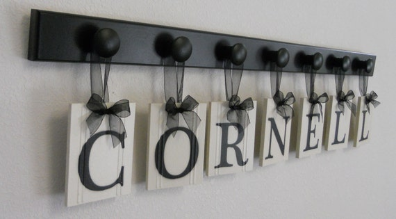 Personalized Family Name Sign for CORNELL Custom Last Names Wood Signs Anniversary Gifts Set Includes Black 7 Pegs
