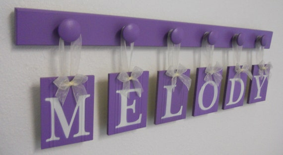 Purple Baby Nursery Decor Personalized for MELODY Includes 6 Hook Rack Lavender
