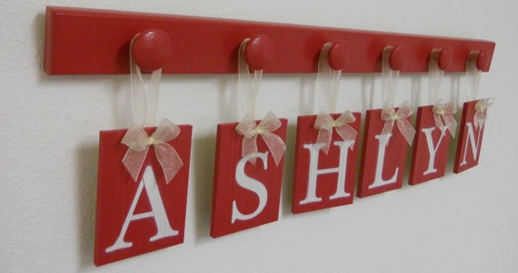 Red Baby Nursery Wall Art Personalized Names Sign Custom Kids Hanging Wood Letters Set Includes 6 Pegs Red and White - Gift for ASHLYN