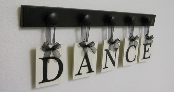 DANCE Art for Teenagers Room Sign, Wooden Dance Sign, Dance Wall Art Room Signs, 5 Wood Hanging Pegs Painted Black or Brown Letters DANCE