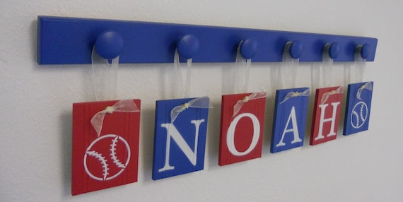 BASEBALL Nursery Decorating Ideas Set  includes NOAH with 6 Wooden Hooks Red and Blue
