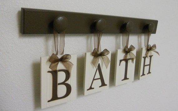 bath sign custom hanging letters brown ribbon wall letters bath sign custom hanging letters set includes 4 by 748