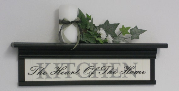 "Black 24"" Wall Shelf for Kitchen - Sign with Verse - KITCHEN - The Heart Of The Home"