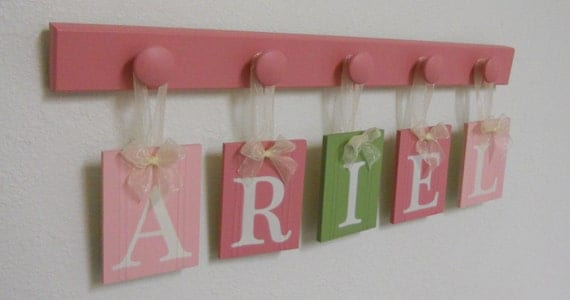Wood Name Sign - Nursery Name Sign - Baby Name Sign - Children's Name Sign - Name Sign - Wall Word Name Sign - ARIEL 5 Knobs Pinks and Green