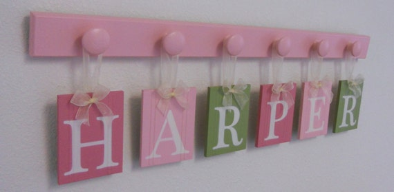 Baby Name Sign- Childrens Personalized Decor- Name Tag Signs- 6 Peg Hooks and Babies Name HARPER Pinks and Green. Baby Girls Room Wall Decor