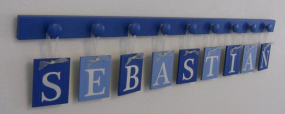 Wooden Wall  Letters Nursery Decor Personalized Name Sign Sets Includes 9 Wood Knobs Light Blue and Blue.  Custom Gift for SEBASTIAN