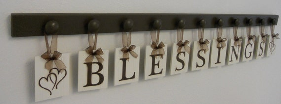 BLESSINGS with HEARTS Wall Art Sign Includes 11 Pegs and Wooden Letters Painted Chocolate Brown. Custom Housewarming Gift