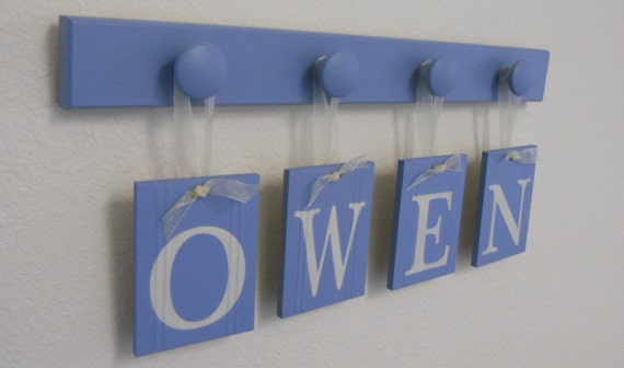 Boys Birthday Gifts Hanging Nursery Wall Letters Personalized for OWEN Set Includes Name and 4 Wooden Hooks Pastel Light Blue