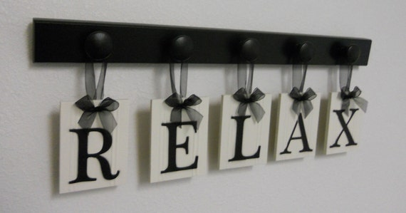 RELAX Sign Personalized Hanging Letters Includes Wooden Hangers in Black. Wood Words Home Entryway Decor.