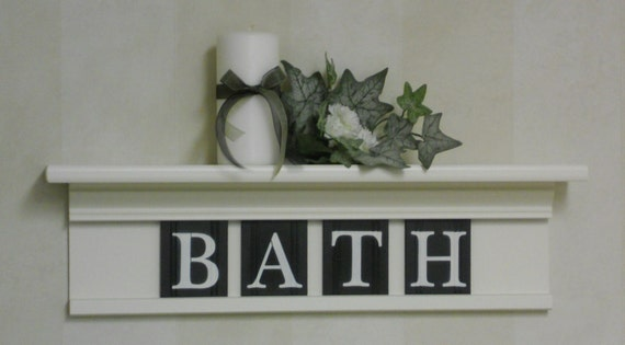 Bathroom wall home decor off white and black 24 by for Bathroom wall letters