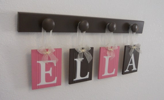 ELLA - Nursery Wooden Wall Letters Sign Wall Set Includes 4 Wood Peg Hooks Painted Pink and Brown  Custom Alphabet Wooden Letters