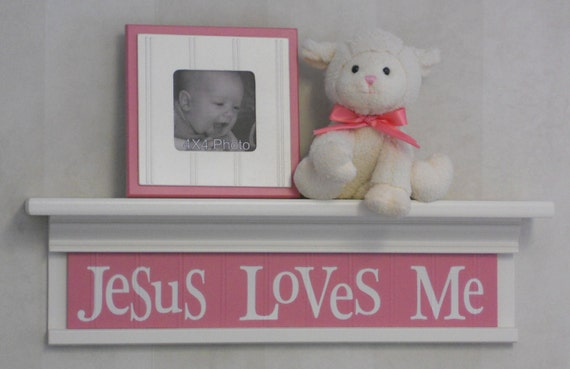 """Pink Nursery Decor - Jesus Loves Me -  Sign on 24"""" Off White Shelf - Pink Unique Christian Wall Art for Nursery"""