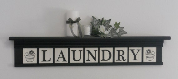 LAUNDRY Shelf & Sign - Wall Decor - Shelf and Letter Blocks - LAUNDRY, Washboard and Bucket - Painted Black - Laundry Room Wall Decor