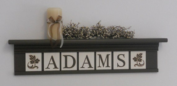 "Personalized Family Names and Signs 30"" Shelf with 7 Wooden Letter Tiles Painted Chocolate Brown and White ADAMS with Bold Ivy Leaves"