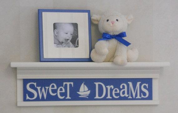 "Sweet Dreams on 24"" Shelf Linen Off White and Blue Sailboat Nursery Wall Art - Baby Nursery Wall Decor"