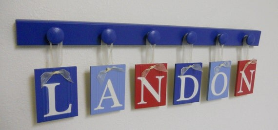 Childrens Names Nursery Decor LANDON includes 6 Wooden Pegs in Blue, Light Blue and Red