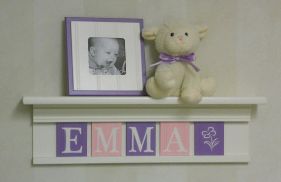 """Pink and Purple Baby Girl Nursery Decor 24"""" Linen White Shelf With 5 Wooden Wall Letters Personalized for EMMA with flower"""