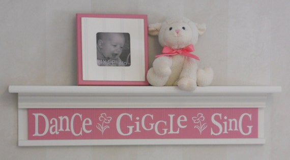 "Whimsical Flower Nursery Wall Decor Sign - Dance Giggle Sing on 30"" Linen (Off White) Shelf, Pink Baby Girl Nursery"