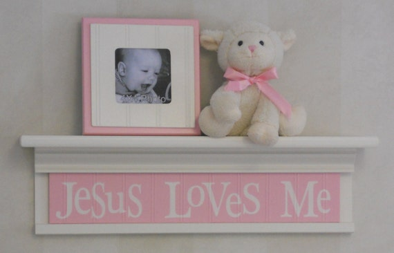 "Jesus Loves Me - Pastel Pink Sign on 24"" Linen (Off White) Shelf, Unique Christian Wall Art for Nursery"