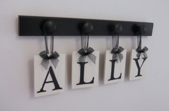 Personalized Boutique Custom Baby Child Name for ALLY with 4 Wooden Hooks Black