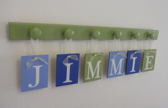 Blue and Green Baby Shower Gift for Baby Boy JIMMIE with match 6 Wood Hooks in Pastel Green