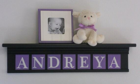 "Black and Purple Baby Girl Nursery Wall Decor  - Custom Name Sign - ANDREYA on 30"" Shelf - 7 Letter Wooden"