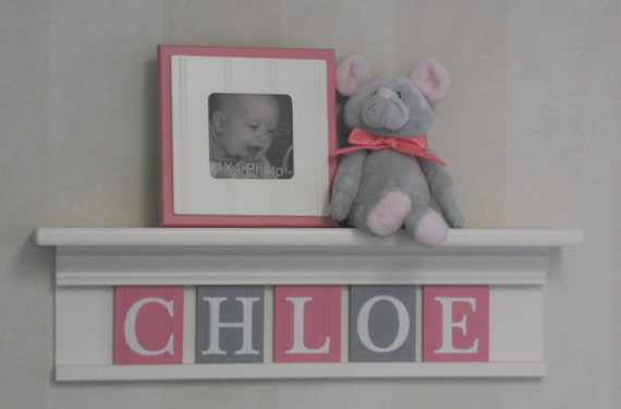 "Gray Pink Newborn Baby Girl Nursery Decorations - Baby Name Sign for CHLOE - 24"" Linen (off white) Shelf 5 Pink and Gray Wooden Letters"