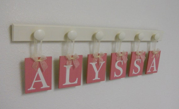 Custom Boutique Girls Room Decor Baby Name Sign Wall Letters for ALYSSA 6 Wood Hooks Pink and White Nursery