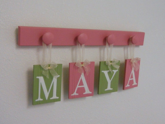 Pink Green Nursery Wall Letters Hanging Wooden By NelsonsGifts