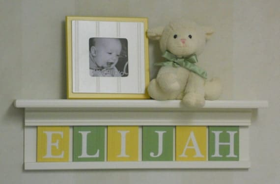 "Yellow and Green Baby Boy Nursery Art Decor - 24"" Shelf  - Sign 6 Pastel Soft Green and Yellow Wooden Wall Letters - ELIJAH"